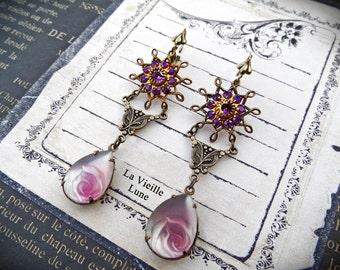 Purple Flower Victorian Earrings, Amethyst Jewel Earrings, Victorian Jewelry