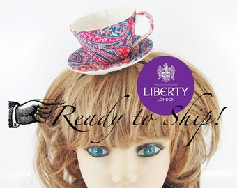 Ready to Ship! Liberty Fabric Teacup Fascinator-Paisley, Red & Blue *Alice in Wonderland's Mad Hatter Tea Party!*