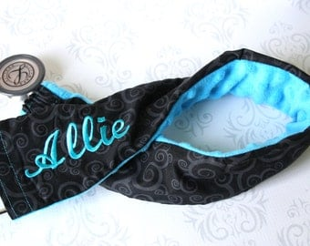 Embroidered Stethoscope Cover - Nurse, Doctor, Med Student, Nursing Student, Medical Assistant - Gift for Nurse - Black Scroll with Teal