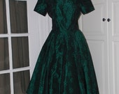 50s Dress, Taffeta, Brocade, Green, Black, Full Circle Skirt, Cocktail, Reception Dress, Size Medium