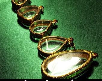 Reliqurary, Intirado, Pendant Supplies, Terrarium Necklace, Shadow Box Pendant, Engraved Pendant Trays, Gold Metal, Lockets, Cameos, 5pcs