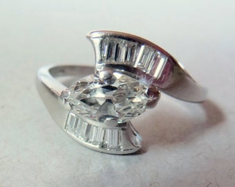 Vintage 40's Platinum Old Mine Cut Marquise Diamond and Baguette Ring  .75 ct main 1.15cts