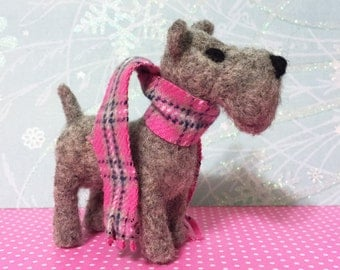 Scottie Dog Felted Ornament Figurine Gray Scottish Terrier with Scarf