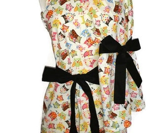 Mommy and Me Retro Apron Set, matching Mother Daughter aprons, Owls aprons, Black Ties, aprons for Women Children toddlers,
