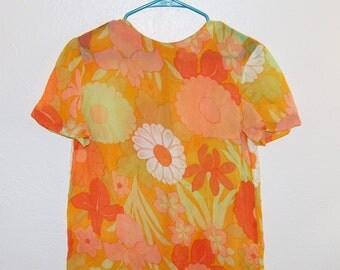 M Vintage 60s/70s Sheer Orange Floral Blouse