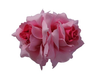 Double Pink Rose Flower Hair Clip