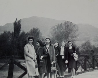 French 1940's Photograph - Six Women On a Bridge in the Countryside