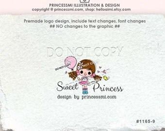 1165-9 Girl logo design, cute doll logo, girl balloon illustration, girl business logo, kids children business shop logo by princessmi