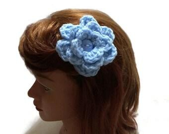 Flower Hair Clip, Blue Flower Clip, Dust Blue Flower, Blue Flower Clippie, Blue Floral Hair Clip, Crochet Flower Clip, Hair Bow for Girls