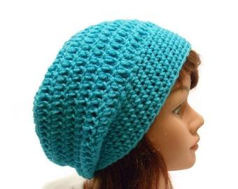 Aqua Blue Tam, Oversized Tam Hat, Dread Hat, Blue Slouchy Beanie, Blue Tam, Crochet Tam, Oversized Slouchy Hat, Festival Hat, Slouchy Beanie