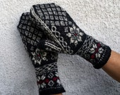"""Navy Blue and White Hand-Knitted Norwegian Mittens """"Alpen Song"""""""