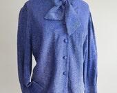 SALE 1950s Blue lurex bow neck blouse / 50s pussy bow shirt - Bourne & Hollingsworth M L