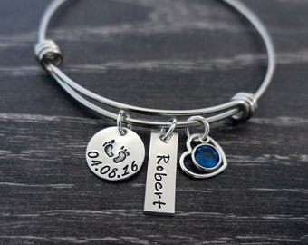 Wire Bangle / Personalized Bangle Bracelet / Mother Bracelet / Charm Bracelet / New Mom Gift / Personalized / Hand Stamped
