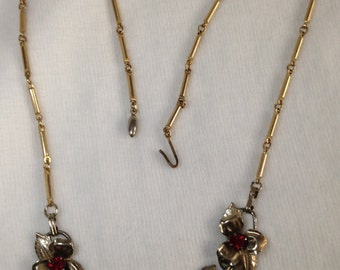 Gold Tone Metal Flowers with Red Stones - Vintage