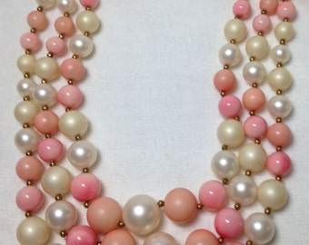 Pink & White Bead Necklace, Three Strand, Japan, Vintage