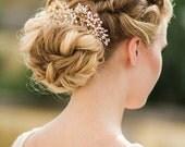 Gold Wedding Headpiece, Ivory Flora Hair Piece, Crystal Bridal Headpiece, Ivory Bridal Headpiece - SAVILLE