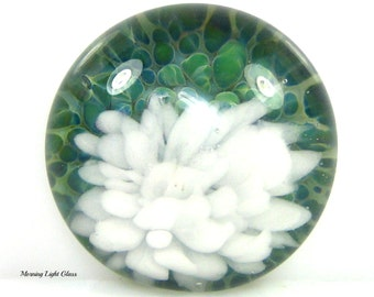 25mm Boro Lampwork Glass Cabochon Bead - Round Focal Bead- Frit Implosion - Serenity