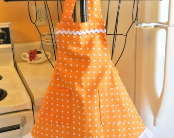 Little Girl's Vintage Style Apron in Orange Polka Dots