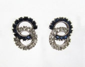 """Sterling Silver Clip Earrings - Blue & Clear rhinestone circles - 3/4"""" - 50s-60s"""