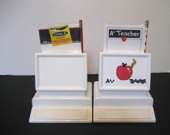 Hand Painted Personalized Mail /Desk Organizer for Teachers with Pad, Pencil