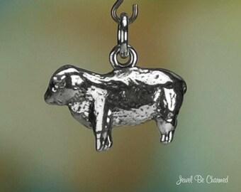 Sheep Charm Sterling Silver Farm or Barnyard Animal 3D Solid .925