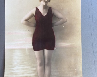 Bathing Beauty Postcard - Woman in Swimsuit at Beach - Vintage Swimming Photo