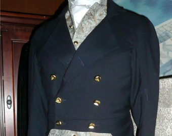 Mans English Regency Double Breasted Tailcoat in Wool, Silk lined