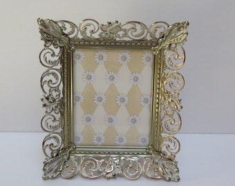 "Vintage white washed brass Ornate Filigree Picture Frame 4"" by 5"" Floral Gold/ Brass / Easel Back"