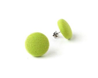 Olive green earrings - green button earrings - green fabric earrings - small solid green stud earrings
