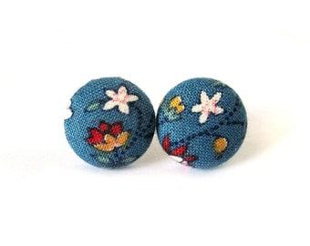 Dark blue floral earrings - pink red rose stud earrings - tiny fabric button earrings - post earrings