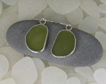 Olive Green Sea Glass Bezel Earrings Maine