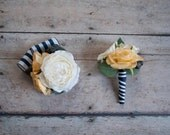 Wedding Boutonniere and Corsage Set - Ivory and Yellow Rose Boutonniere and Corsage