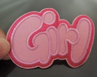 GIRL Letter Patches - Iron on or Sewing on GIRL BOY Patches Pink Word Letter Patch Embellishments Embroidery fonts Colorful Sewing Patch