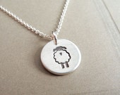 Tiny Lamb Necklace, Tiny Sheep Necklace, Fine Silver, Sterling Silver Chain, Made To Order