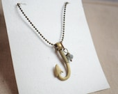 Lucky Fishhook Necklace, Fish hook charm necklace, fishing necklace, Fish hook charm