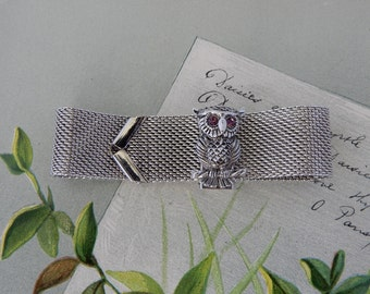 SARAH COVENTRY Silver Mesh Buckle Bracelet w/ Owl Clasp