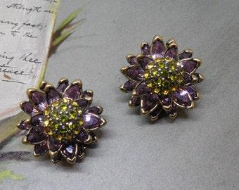 Heidi Daus MY WATER LILIES Swarovski Crystal Flower Clip On Earrings