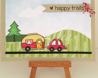 one-of-a-kind, 'happy trails' travel, handmade greeting card