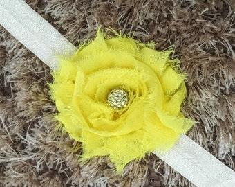 SUMMER SALE Yellow Chiffon Headband, Shabby Chic Newborn Headband, Vintage Style Flower Baby Headband, Shambala Bead Sparkle Newborn Prop