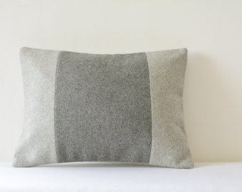 Light & Dark Grey Patchwork Colour Blocked Felt Cushion Cover , Grey Felt Decorative Pillow , Grey Felt Cushion Cover , Accent Throw Pillow