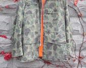 Reversible Hunting Jacket, Cammoflage Jacket, Orange Hunting Jacket, Military Jacket, Army Jacket, Vintage Mens Jacket, Green, Orange, Coat