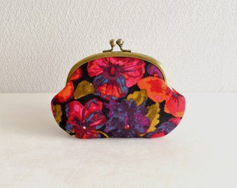 Wool floral frame purse - Liberty exclusive high quality wool - pansy, art, clasp purse