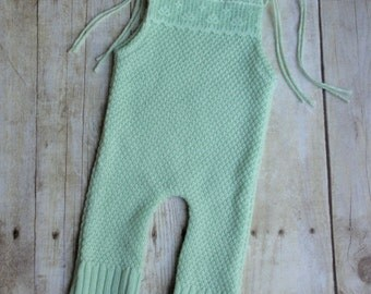 Newborn Baby Girl Upcycled Romper Photo Prop Outfit - Mint Green - READY TO SHIP