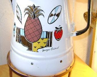 Large George Briard coffee POT perculator glass top & warmer platform burner Great Condition.