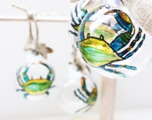 Maryland Blue Crab Ornament, Painted Blue CrabHand Painted Glass Ornament, Blue Crab Ornament, Glass Bulbs, Christmas Ornament