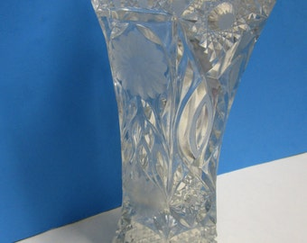 "Antique Hexagon pressed glass vase, 12"" tall and weighs 5 pounds"