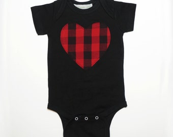 Baby plaid heart bodysuit, unisex baby clothes, black onesie with red plaid heart, snap suit baby grow, ready to ship