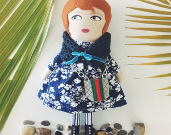 Camellia a handpainted doll with Gucci style hand bag