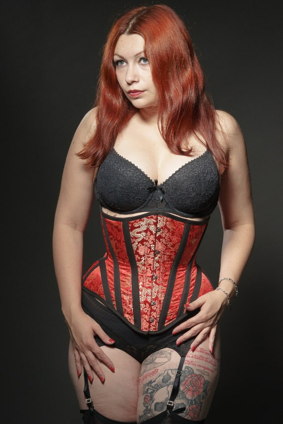 Red brocade underbust boned corset with black skeleton twill applique closed waist 59 CM (23.22 inches)