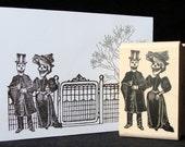 "halloween rubber stamp  ""skeleton couple"""